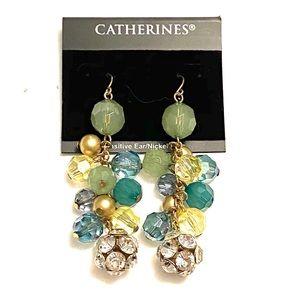 CATHERINES Blue Green rhinestone dangle earrings